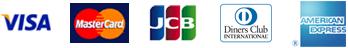 VISA, MasterCard, JCB, Diners Club International, AMERICAN EXPRESS